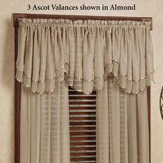 The solid color, polyester voile Elegance Sheer Window Treatment brings a touch of elegant style to your room. Sheer Layered Ascot Valance has satin ribbon. Living Room Decor Curtains, Home Curtains, Curtains With Blinds, Valance Curtains, Bedroom Decor, French Curtains, Elegant Curtains, Modern Curtains, Window Curtain Designs