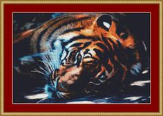 Resting Tiger Cross Stitch Pattern