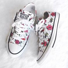 White and Floral Printed Converse! For inbetweenie and plus size fashion inspo go to www.dressingup.co.nz