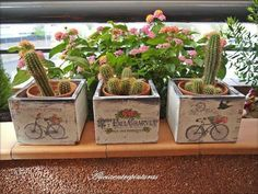 Pin on wood crafts & signs Foto Transfer, Painted Clay Pots, Decoupage Vintage, Decoupage Wood, Decoupage Ideas, Country Paintings, Pastel Floral, Wooden Crates, Container Plants
