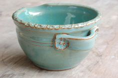 LOVE THE HANDLES AND STAMP ON RIM OF BOWL! Petite Stoneware Batter Bowl 3 cup by JenniferBurkePottery