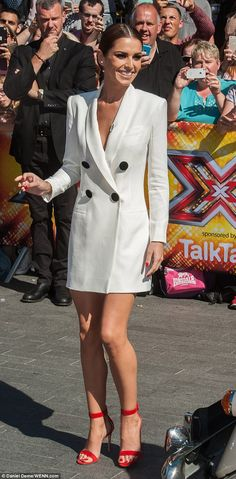 Cheryl Fernandez-Versini covers up in a stylish white tuxedo dress #dailymail
