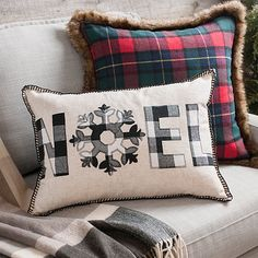 This neutral Buffalo Check Noel Accent Pillow will look great on any couch or accent chair in your home. The buffalo check pattern is perfect for the season. Christmas Bedroom, Christmas Home, Christmas Crafts, Christmas Decorations, Christmas Canvas, Holiday Decorating, Rustic Christmas, Vintage Christmas, Merry Christmas