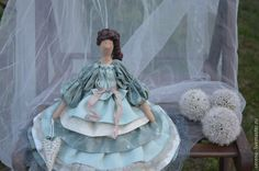 Купить Кукла Констанция в стиле Тильда - болотный, зеленый, кружева, кукла, тильда, кукла Тильда