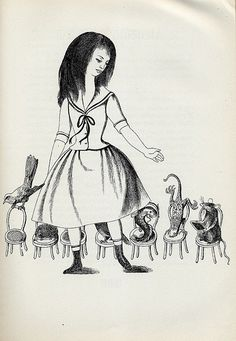 "Dagmar Berková (Viena, 1922- Praga, 2002), illustration for ""Alice's Adventures in Wonderland"" and ""Through the Looking Glass de Lewis Carroll"", 1961."