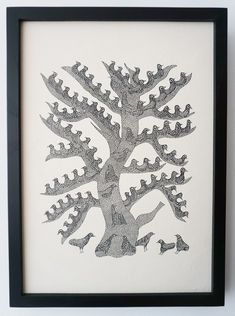 The Night Life of TREES 版画「DUMAR TREE」 Night Life, Moose Art, Doodles, Trees, Base, Animals, Animales, Animaux, Tree Structure