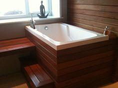 I need this tub when we redo the bathroom. Nirvana deep soaking bath tub - Cabuchon Bathforms soaking tubs with steps Japanese Bathtub, Japanese Soaking Tubs, Deep Tub, Deep Soaking Tub, Nirvana, Space Saving Baths, Wooden Bathtub, Outdoor Tub, Small Tub