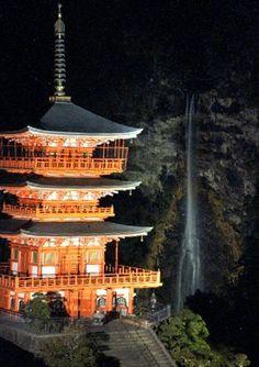 Nachinotaki, Wakayama at night