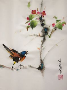 Tu es bien jolie - Peinture,  30x40 cm ©2015 par Abby -                                                              Art figuratif, Papier, Animaux, aquarelle, abby, papier de riz, peinture chinoise, peinture japonaise, xie yi, oiseau, fleurs, sumie