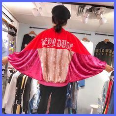 TREND-Setter 2017 Autumn New Blog Celebrity Velvet Jacket Women Letter Print Batwing Sleeve Open stitch Casual Jacket and Coat
