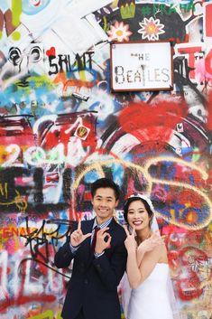 Pre-wedding photo - John Lenno wall in Prague. Prague, Wedding Photos, Wedding Photography, Wall, Marriage Pictures, Walls, Wedding Pictures, Wedding Pictures