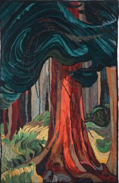 The Red Cedar hooked by Sunny Runnells, adapted from Emily Carrs painting. Rug Hooking Designs, Rug Hooking Patterns, Emily Carr Paintings, Punch Needle Patterns, Wool Quilts, Rug Inspiration, Hand Hooked Rugs, Loom Weaving, Rug Making