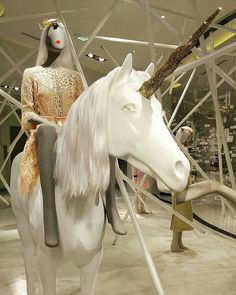 """SAKS FIFTH AVENUE, Eaton Centre, Toronto, Canada, """"A Unicorn is just a Horse with a Point of View"""", pinned by Ton van der Veer"""