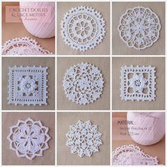 Lace crochet motifs by Anabelia~ Crochet doilies and lace motifs. Crochet Motif Patterns, Granny Square Crochet Pattern, Crochet Chart, Crochet Squares, Thread Crochet, Love Crochet, Filet Crochet, Irish Crochet, Beautiful Crochet