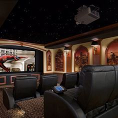 Beautiful Theatre Room , love the ceiling!!
