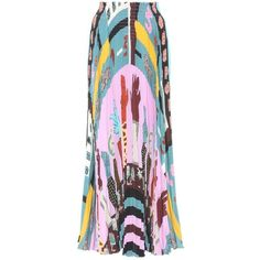 Valentino Pleated Silk Skirt ($3,250) ❤ liked on Polyvore featuring skirts, multicoloured, multicolor skirt, multi color skirt, multi colored skirt, pleated skirt and pink skirt