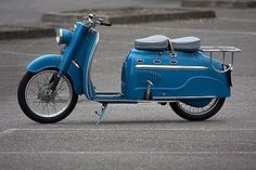 Vintage blue moped for two