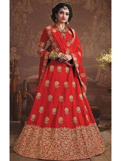 Attractive Cherry Red Online Designer Lehenga Choli