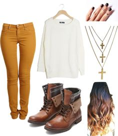 """""""Mustard Jeans"""" by nicolecorrado on Polyvore (change the necklaces of course...)"""