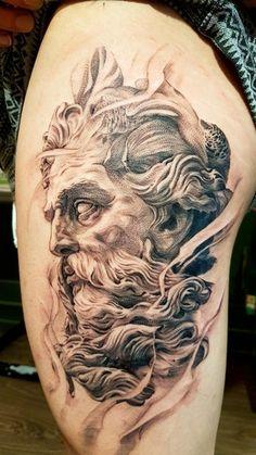 Zues by Long, Bor Tattoo, Vietnam : tattoos Indian Skull Tattoos, Skull Rose Tattoos, Car Tattoos, Neue Tattoos, Poseidon Tattoo, Zues Tattoo, Vietnam Tattoo, Tattoo Studio, Tattoo Designs