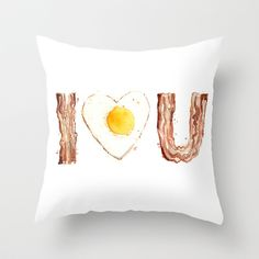 Bacon and Egg LOVE by Olechka $20.00 #homedecor #pillows