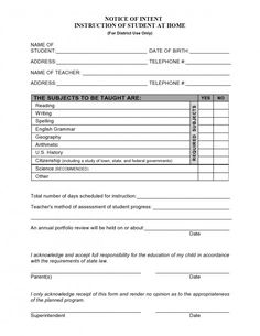 Sample of Letter of Intent to Homeschool | Home Schooling ...