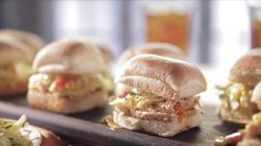 Pulled Chicken and Spicy Slaw Recipe : Trisha Yearwood : Food Network Pulled Chicken Sandwiches, Chicken Sliders, Wrap Sandwiches, Steak Sandwiches, Finger Sandwiches, Slaw Recipes, Chicken Recipes, Sandwich Recipes, Turkey Recipes