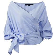 V-Neck Wrap Front Top|Disheefashion (1.520 RUB) ❤ liked on Polyvore featuring tops, v-neck tops, v neck tops, blue top and wrap front top