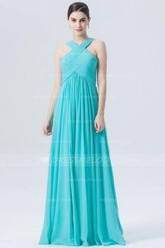 Light Sky Blue Criss-Cross Straps Sleeveless Zipper-Up Floor-Length Chiffon Bridesmaid  Dress  wedding  weddingphotography  weddinghairstyles  weddingflowers ... c04184b9f8fe