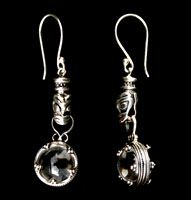Viking crystal ball earrings with wolf head fitting