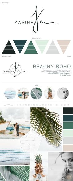 Beachy Boho with Tropical Colors. Nature. Minimalist Mood Board. Earthy. Adventure. Professional Business Branding by Designer Laine Napoli. Web Design, Logo, Mood Board, Brand Boards, and more. #InteriorDesignBoards #webdesignminimalist
