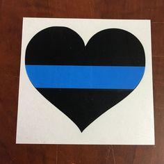 Thin Blue Line Police Heart Sticker