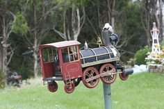 Locomotive mailbox, by Mary StarMagic on Flickr.