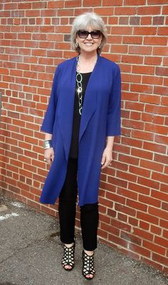 Fifty, not Frumpy: I wore a blue Traveler's jacket with a mesh hem black layering tank and black straight leg pants.