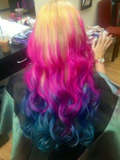 Dip-dye/ombre with Splat Pink Fetish, Blue Envy and Aqua Rush