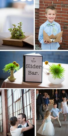 books were used throughout this modern DIY Portland Wedding by Stacey Kane
