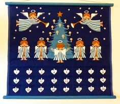 vintage Danish Wallhanging Aase & Preben Jangaard  Julekalender Christmas angels by MarthesVintage on Etsy