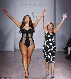 Taking it in: The Plus-size model showed her latest lingerie collection for Canadian retailer Addition Elle