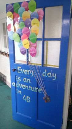 Classroom door decoration inspired by Up! the movie. Classroom door decoration inspired by Up! the movie. Primary Classroom Displays, Year 2 Classroom, Ks1 Classroom, Classroom Pictures, Classroom Board, Classroom Themes, Movie Classroom, Classroom Borders, Maths Display Ks2