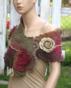 Crochet Scarf Unique Capelet Bohemian style Spring fashion Wedding scarf Neckwarmer Freeform crochet Gift For her Bridal scarf Degra2 Beautiful unique design. Color: shades: brown pink green beige One of a kind Size: one size fits all irregular shape about: 117/20-28 cm 46,46/7,87-11,02