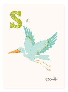 S is for Stork  5x7 art print  nursery art for by SeaUrchinStudio, $4.50