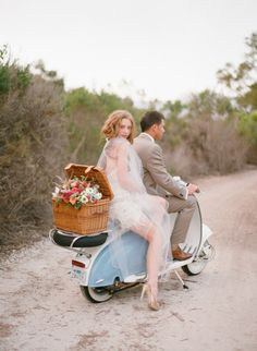 wedding dressses, motorcycl, getaway car, vespa, basket, bride, photo shoots, scooter, picnic