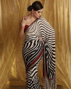 Featuring: A Cream Crepe-Jaquard saree with all-over abstract print with cut dana work on border on the pallu. It is paired with a blouse piece of crepe jaquard Indian Dresses, Indian Outfits, New Look Trends, Meena Bazaar, Crepe Saree, Big Fat Indian Wedding, Saree Collection, Indian Fashion, Fashion Fashion