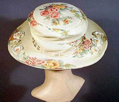 1910s printed crepe hat  - Courtesy of pastperfectvintage.com