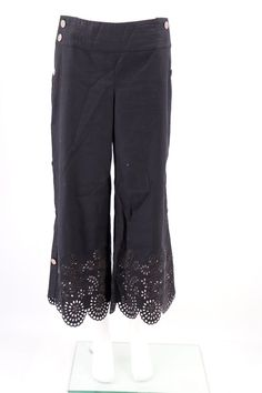 5f558ca6f3 Anthropologie Elevenses Pants Size 6 Womens Black Side Button Eyelet Hem  Cropped