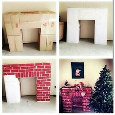 Fireplace made of cardboard