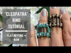 Cleopatra ring tutorial | Flat netting + Right Angle Weave - YouTube Beaded Rings, Beaded Jewelry, Beaded Bead, Jewellery, Right Angle Weave, Ring Tutorial, Seed Bead Earrings, Seed Beads, How To Make Rings