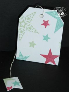 Stampin' UP! angled tag topper punch en simply stars  theezakje