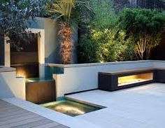 Image of: modern garden waterfall designs. Steep Gardens, Indoor Outdoor Living, Outdoor Decor, Outdoor Furniture, Contemporary Garden Design, Garden Waterfall, Garden Sofa, Modern Farmhouse Exterior, Outdoor Landscaping