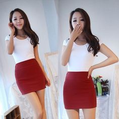 Women Sexy Mini Skirt Slim Seamless Stretch Tight Short Pencil Skirt Candy Dress #Unbranded #Mini